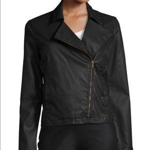 Eileen Fisher Black Wax Cotton Moto Jacket